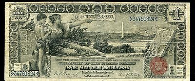 """Fr. 225 1896 $1 One Dollar """"Educational"""" Silver Certificate Currency Note Vf"""