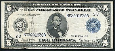 FR. 851a 1914 $5 FIVE DOLLARS FRN FEDERAL RESERVE NOTE NEW YORK, NY VERY FINE+