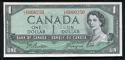 1954 $1 One Dollar Bank Of Canada Banknote About Uncirculated