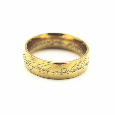 Men Vintage Lord of the Rings Stainless Steel The One Ring Bilbo Hobbit gold C@