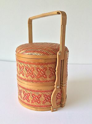Vtg Asian Chinese Wedding Basket 2 Tier Woven Rattan Bamboo Red Criss Cross
