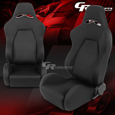 Woven Fabric Cloth Hi-Head Black Motorsport Bucket Racing Seat Driver+Passenger