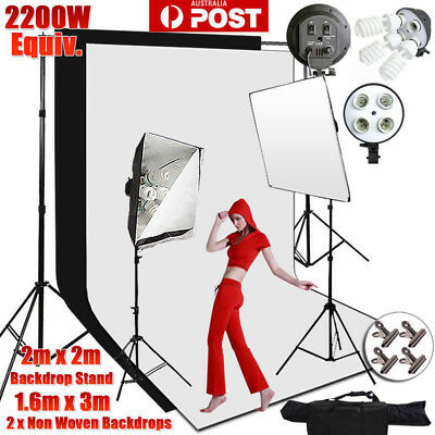 Photo Black White Chromakey Green Screen 2x3m Backdrop Stand Background Kit-NEW