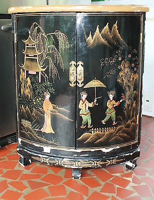 Vtg Oriental Chinese Furniture Black Lacquer Corner Cabinet Girl Lady Landscape