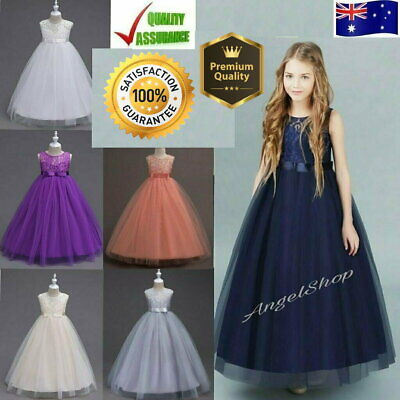 Full Length Flower Girl Dress Lace Tulle Wedding Birthday Party Girls Dress