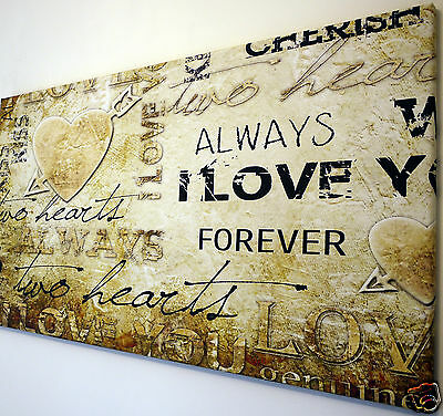 """Love  Verse Romantic Canvas Wall Art Picture Large 18"""" X 32"""""""