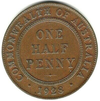 1928  Half Penny Australian Coin  -  Variety  -  Die Cracks And Dots