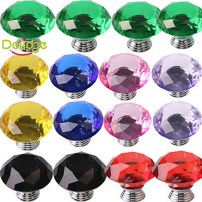 Multicolor Diamond Shape Crystal Glass Cabinet Knobs Cupboard Drawer Pull Handle