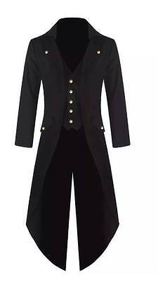 UK Seller Mens Steampunk Tailcoat Jacket Goth Victorian Coat Wedding/Party Dress