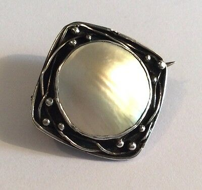 Small original antique Arts & Crafts silver & mother of pearl brooch, c1910