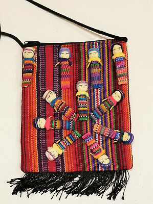 Worry Doll Textile Zip Bags, Made in Chiapas Mexico, Multi-colour, orange