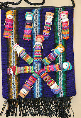 Worry Doll Textile Zip Bags, Made in Chiapas Mexico, Multi-colour