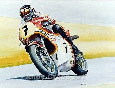 Barry Sheene Suzuki Print from my original watercolour painting Motorcycle GP