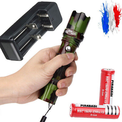 Kit Lampe Torche Police Camo 2000 Lumens Led Flashlight + 2 Piles + Chargeur