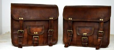 Motorcycle 2 Bags Pouch Brown Leather Side Pouch Saddlebags Saddle Panniers