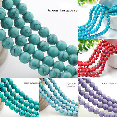 Natural Turquoise Gemstone Spacer Round Beads Loose Beads 8/10/12mm 15""