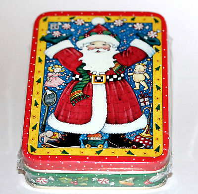 """NEW Mary Engelbreit """"Santa Claus Surrounded by Toys & Candy """" Vintage Tin RARE!"""