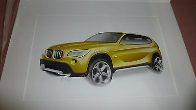 OFFICIAL 2013 BMW X-1 DESIGNER ART PRINT DEALER GIFT SIGNED by KIM - FREE S/H