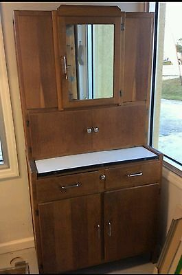 Antique Hoosier Style Kitchen Cabinet Cupboard Mirror & Porcelain Pullout Top