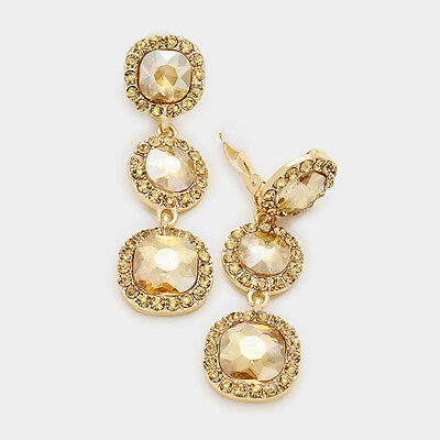 Golden CLIP ON earrings dangly drop prom bridal gold tone long sparkly 0394