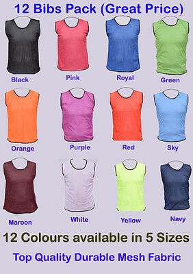12 FOOTBALL MESH TRAINING SPORTS BIBS Kids/Youth and Adult Sizes