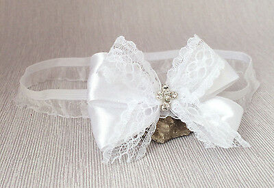 White baby bow headband hair band for baptism, christening, toddlers lace bow