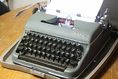 1955 Excellent SM3 Olympia Green Typewriter Working Black Red Ribbon Vintage