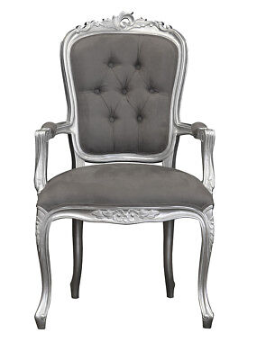 French Louis XV Elise Armchair  - Silver with Plush Grey Velvet