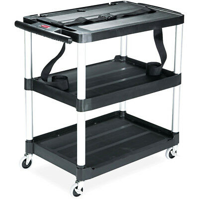 Rubbermaid MediaMaster Portable Three-Shelf AV Cart (Black) 9T28 NEW