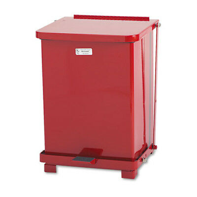 Rubbermaid ST7ERDPL Defenders 7-Gallon Biohazard Square Steel Step Can, Red New