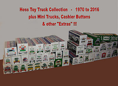 HESS TOY TRUCK COLLECTION - 1970 to 2016 + MINI TRUCKS + BUTTONS & EXTRAS!!!