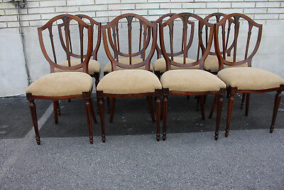 Unusual Set of 8 Shield Back  Olive Wood Dining Chairs, New Upholstery