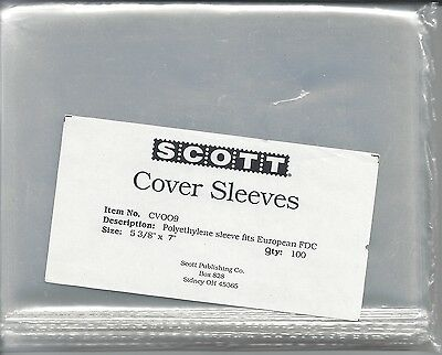 """100 New Scott 2-mil European First Day Cover Sleeves 5-3/8"""" x 7"""""""