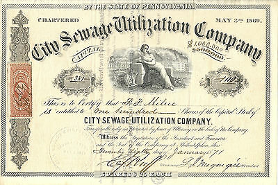 PENNSYLVANIA 1871 City Sewage Utilization Company Stock Certificate