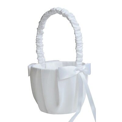 Faux Pearl Flower Wedding Flower Girl Basket Bowknot Decor Ivory Party Supply