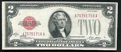 "Fr. 1502 1928-A $2 Two Dollars Legal Tender United States Note ""Semi Key"" Vf+"