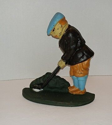 """Cast Iron Golfing DOOR STOP or BOOK END Heavy Vintage decor 7"""" tall golf"""