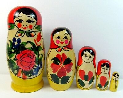 Russian Semenov Nesting Doll Matryoshka Set 5 pcs Wooden Hand Painted 11cm