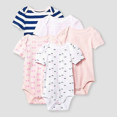 Baby Girls' Short-Sleeve 5 Pack Bodysuit Baby Cat & Jack™ - Pink/Navy 24M