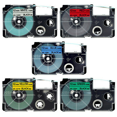 Compatible for Casio Black Print on 12mm Color Label Tapes XR-12WE1 EZ Printers