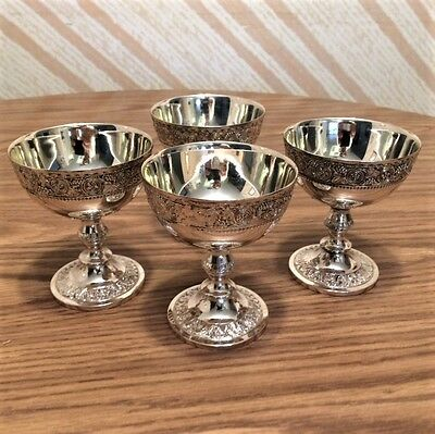 Corbell & Co. Silver Plate Champagne Goblet (Set of 4 NEW IN PLASTIC & BOX)
