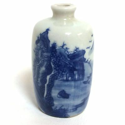 Chinese Porcelain Snuff Bottle With Mountain Blue Artemisia leaf mark