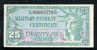 Series 591 25 Twenty Five Cents Mpc Military Payment Certificate