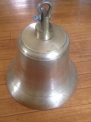 "Vintage 20 lb Solid Brass / Bronze Bell 12"" Tall w/ Clapper Great Sound"