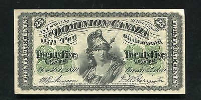 1870 25 Twenty Five Cents Shinplaster Dominion Of Canada Banknote Xf
