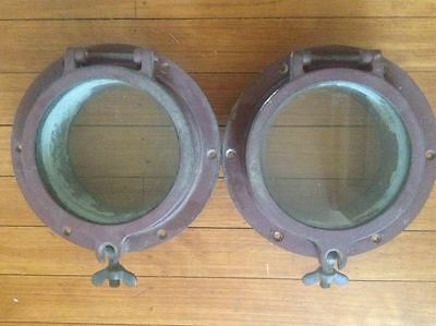"Pair Bronze  9"" Porthole Portlight w/ 6"" Window Opening 2.5"" Flange"