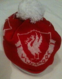 Liverpool Fc Beanie / Wooly Football Hat Red & White With Grey Trim Liver Bird