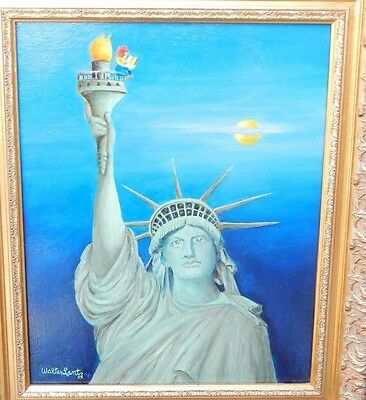 "Walter Lantz Woody Woodpecker Original Oil Painting  ""Statue of Liberty"""