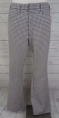 Men's Vintage 1970's Kings Road Brown/White Houndstooth Polyester Slacks- M 34