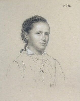 Antique French Pencil Drawing, Portrait of a Woman, 1880
